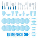Flat style tableware big icon set isolated on white Royalty Free Stock Images
