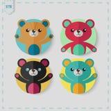 Flat Style teddy bear Vector Icon Set. Stock Photo