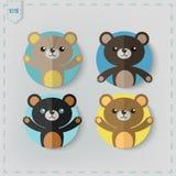 Flat Style teddy bear Vector Icon Set. Stock Photography
