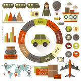 Flat style travel infographic Stock Images