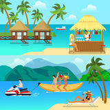 Flat style tropical resort activity website banner hero image set Royalty Free Stock Images
