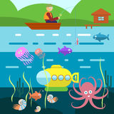 Flat Style Underwater Life with Fisherman on a boat Vector Royalty Free Stock Images