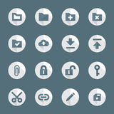Flat style various file actions icons set. Vector dark gray white flat design round various file actions icons set long shadows Royalty Free Stock Photo