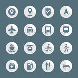 Flat style various map navigation icons set Stock Images