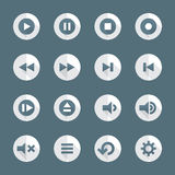 Flat style various media player icons set. Vector dark gray white flat design round various media player icons set long shadows Royalty Free Stock Photo