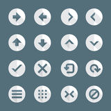 Flat style various navigation menu buttons icons set. Vector dark gray white flat design round various navigation menu buttons icons set long shadows Stock Photos