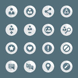 Flat style various social network actions icons set Royalty Free Stock Images