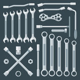 Flat style various wrench set Stock Images