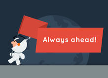 Flat style vector banner with little funny astronaut and big red flag Stock Photo