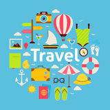 Flat Style Vector Beach Travel Concept Royalty Free Stock Photography