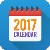 Flat style vector calendar icon on blue background. Year 2017 flat style vector calendar icon on blue background Stock Images