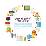 Flat Style Vector Circle Template of Back to School and Educatio Stock Photography
