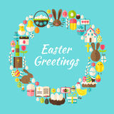 Flat Style Vector Circle Template Collection of Easter Greeting Stock Photography