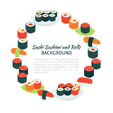 Flat Style Vector Circle Template Collection of Food Sushi Sashi Stock Images