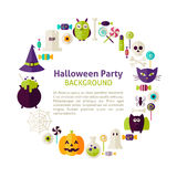 Flat Style Vector Circle Template Collection of Halloween Party Royalty Free Stock Images