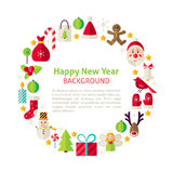 Flat Style Vector Circle Template Collection of Happy New Year O. Flat Style Vector Circle Template Happy New Year Objects. Collection of Winter Merry Christmas royalty free illustration