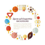 Flat Style Vector Circle Template of Sport Recreation and Compet. Flat Style Vector Circle of Sport Recreation and Competition Objects. Flat Design Vector Royalty Free Stock Images