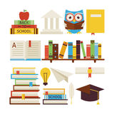 Flat Style Vector Collection of Books Education and Knowledge Ob Royalty Free Stock Image
