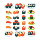 Flat Style Vector Collection of Food Sushi Sashimi and Rolls Obj Stock Photography