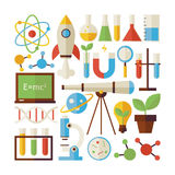 Flat Style Vector Collection of Science and Education Objects Is Royalty Free Stock Photos