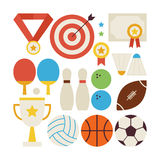 Flat Style Vector Collection of Sport Recreation and Competition. Objects Isolated over White Stock Images