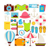 Flat Style Vector Collection of Summer Vacation and Travel Stock Images