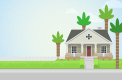 Flat style vector countryside house with lawn Stock Image