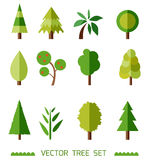 Flat style vector elements set. Different types of trees. Game icons. Royalty Free Stock Photos