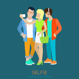 Flat style vector friends making selfie: blond girl and hipster Royalty Free Stock Image