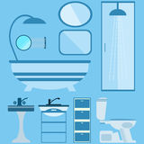 Flat style vector illustration. Bathroom interior with furniture Stock Photos