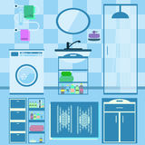 Flat style vector illustration. Bathroom interior with furniture Royalty Free Stock Image