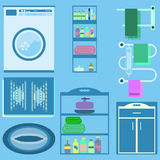 Flat style vector illustration. Bathroom interior with furniture Stock Image