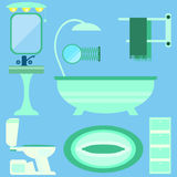 Flat style vector illustration. Bathroom interior with furniture Stock Images