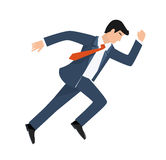 Flat style vector illustration of a businessman running, business concept Stock Image