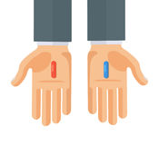 Flat Style Vector Illustration of Hands with Red and Blue Pills. Hands with red and blue pills. Choice metaphor. Flat style concept vector illustration  on white Stock Images