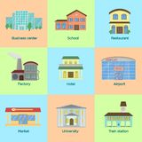 Flat style vector illustration icons set of colorful public buildings. stock illustration