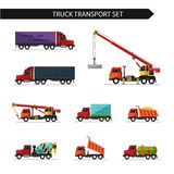 Flat style vector illustration of truck and delivery transport. On white background. Including concrete mixer, truck crane, refrigerator, gasoline tanker Royalty Free Stock Photography