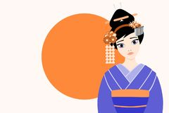 Flat style vector illustration of a young and beautiful japanese Geisha royalty free stock photo