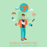 Flat style vector mobile marketing business strategy infographic Royalty Free Stock Photos