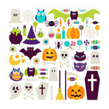 Flat Style Vector Set of Halloween Holidays Objects  ove Stock Photo