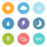 Flat style weather icons Royalty Free Stock Image