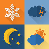 Flat style weather icons Royalty Free Stock Photography
