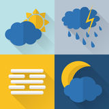 Flat style weather icons Stock Photography
