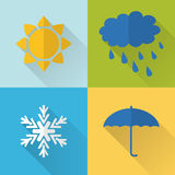 Flat style weather icons Stock Images
