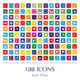 Vector flat style web icons. 130 colorful web icons in flat style. Vector illustration Stock Photo