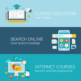 Flat style web infographic concept. Flat style odern education infographic concept. Classic library book reading, online wiki search, internet course vector illustration