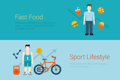 Flat style website banner fast food sport lifestyle concept Stock Images