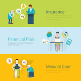 Flat style website insurance financial plan medical care concept Stock Images
