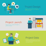 Flat style website slider banner design launch data workplace Royalty Free Stock Image