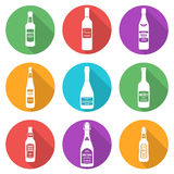 Flat style white silhouettes alcohol bottles icons set. Vector flat style white silhouettes alcohol bottles icons set with shadows Stock Images
